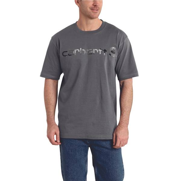 Men's Gray Signature Logo Short Sleeve Graphic T-Shirt