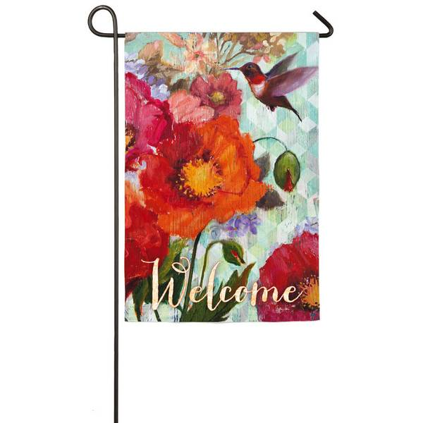 Hummingbird and Poppies Garden Flag