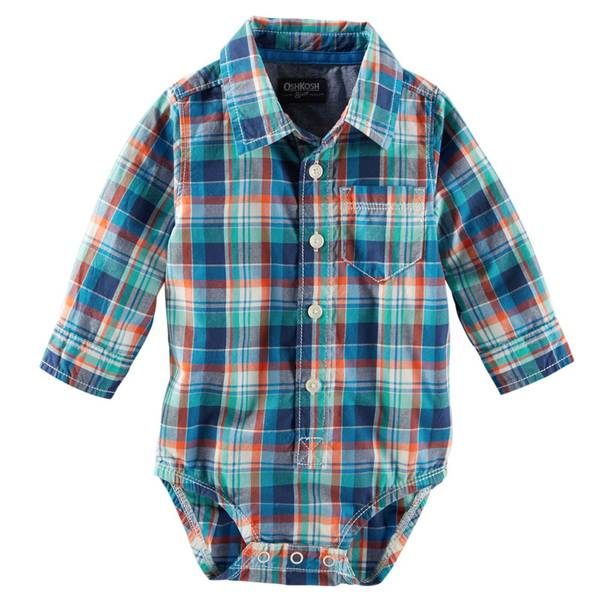 Infant Boy's Plaid Button-Down Bodysuit
