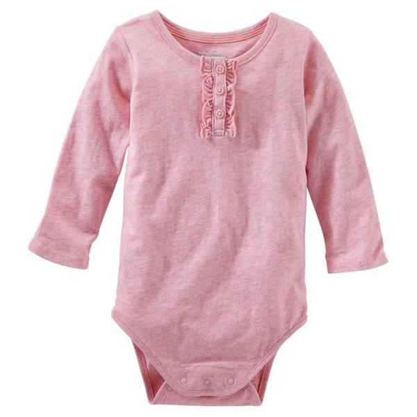 Baby Girl's Pink Sparkle Ruffle Bodysuit