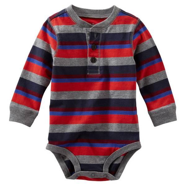 Baby Boy's Multi-Colored Striped Jersey Henley Bodysuit