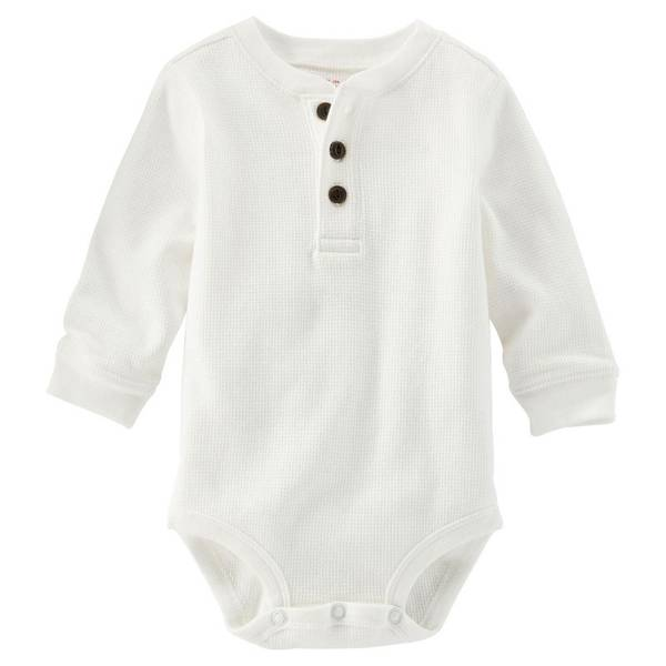 Infant Boy's White Thermal Henley Bodysuit
