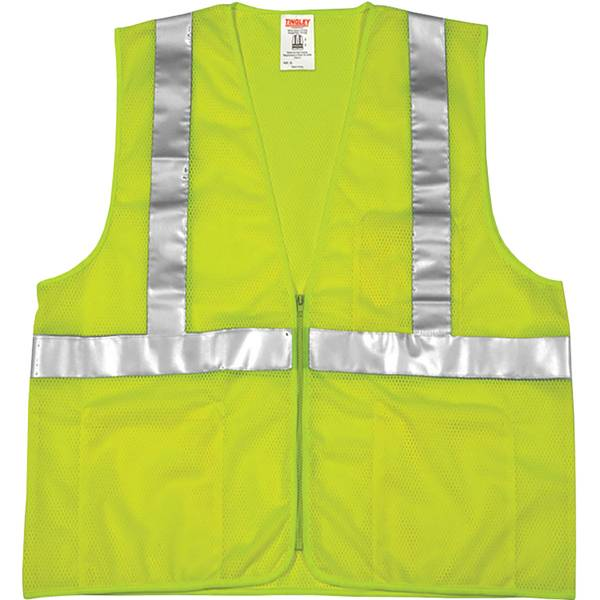 Men's Yellow High Visibility Reflective Half-Zip Work Vest