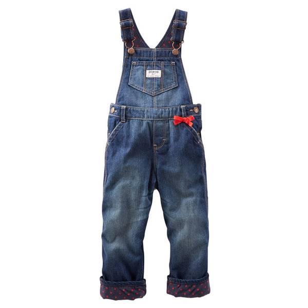 Baby Girl's Denim Fleece-Lined Overalls