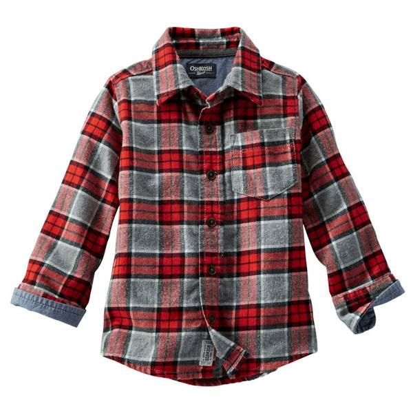 oshkosh kids toddler boy 39 s red gray plaid flannel shirt