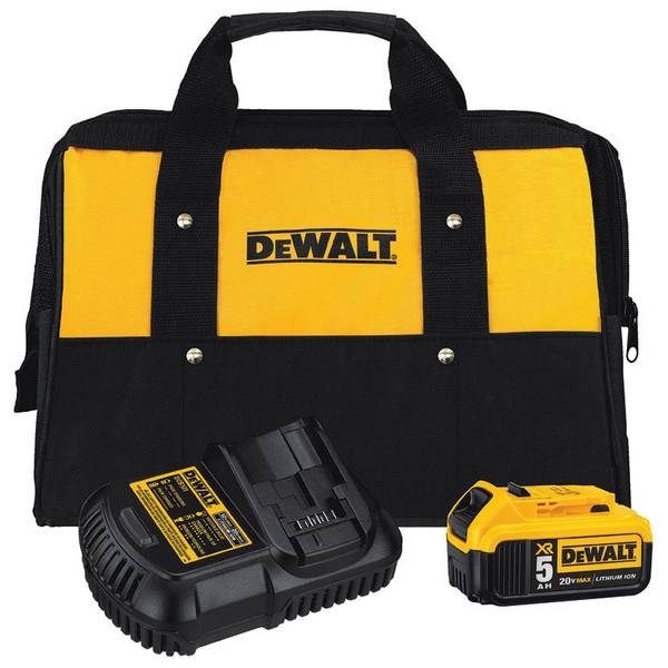 Dewalt 20-Volt MAX 5.0Ah Lithium-Ion Battery and Charger Kit with Bag