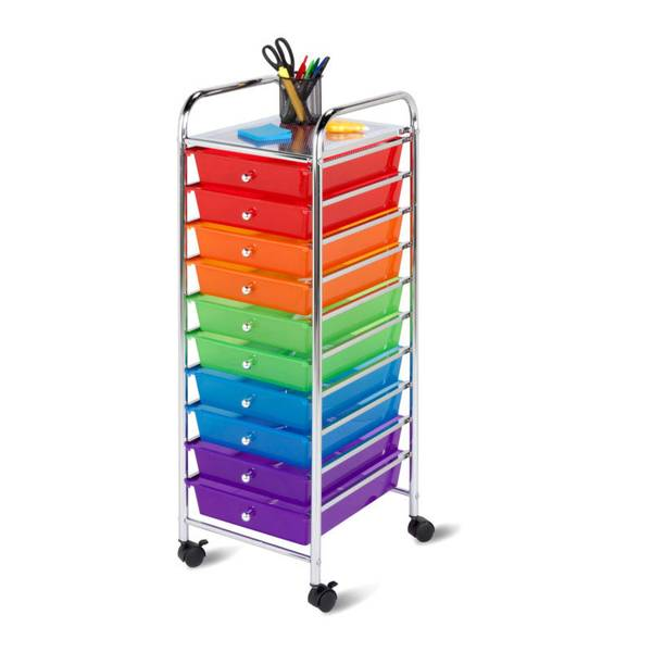 Superieur 10 Drawer Multicolor Rolling Storage Cart