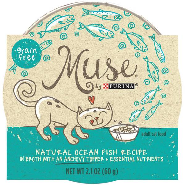 Purina muse fish in broth with anchovy cat food for Purina game fish chow