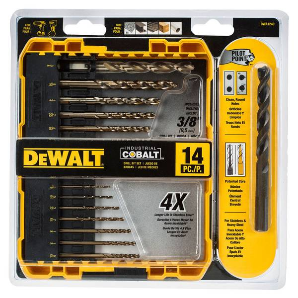 14-Piece Pilot & Split Tip Cobalt Drill Bit Set