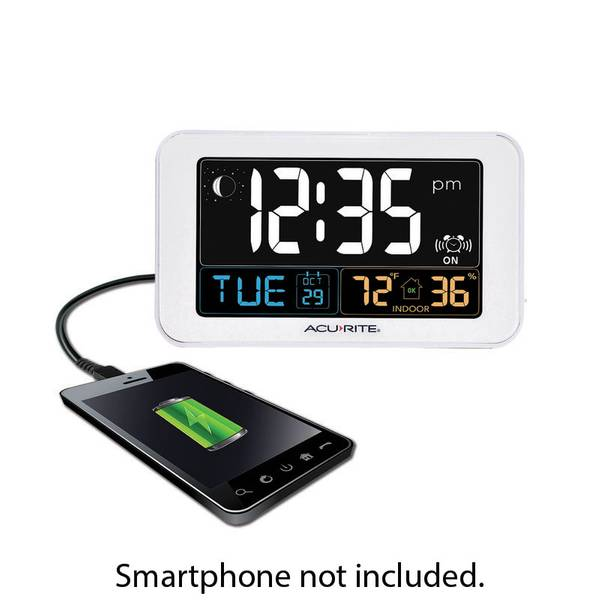 Intelli-Time Alarm Clock with USB Charger