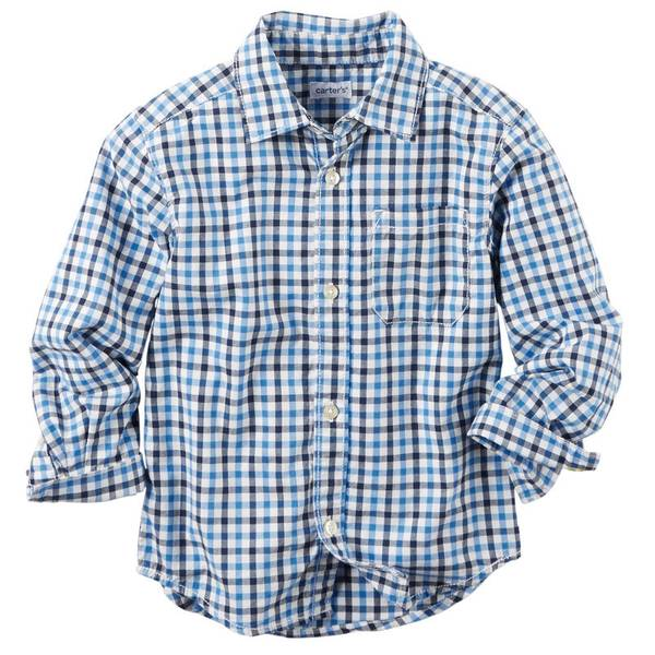 Boy's Blue & Multi Colored Plaid Patterned Shirt