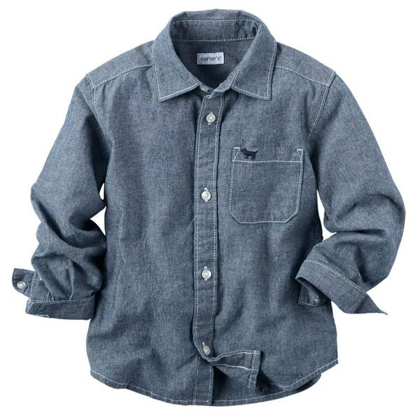 Boy's Blue Chambray Button Front Shirt
