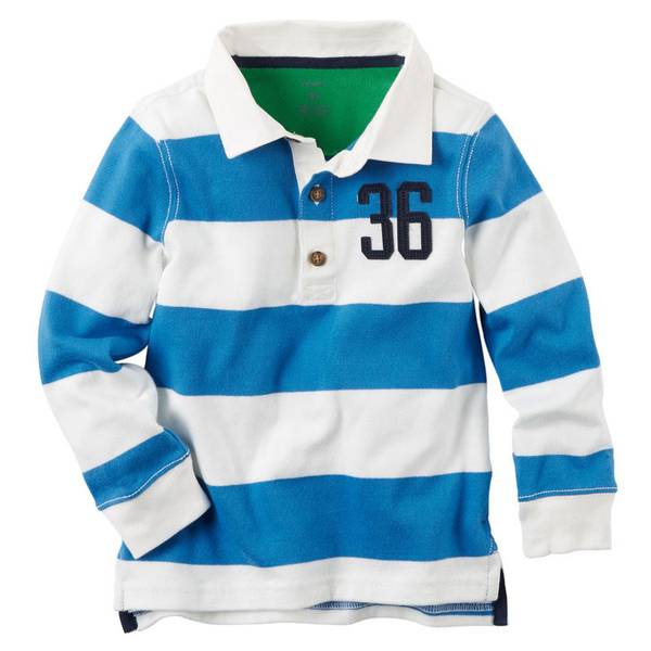 Boy's White Long Sleeve Striped Rugby Polo
