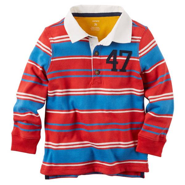 Boy's Red Long Sleeve Striped Rugby Polo