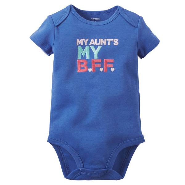 Infant Girl's Blue Short Sleeve Slogan Bodysuit