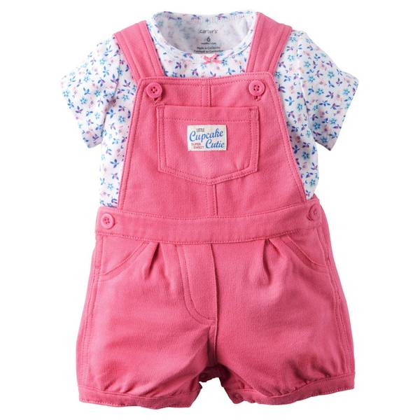 Infant Girl's Pink & White 2-Piece Tee & Shortalls Set