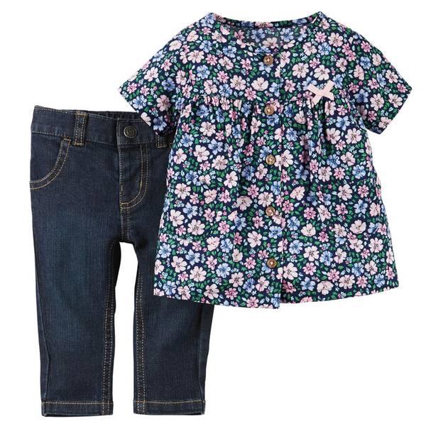 Infant Girl's Pink & Blue 2-Piece Top & Jeans Set