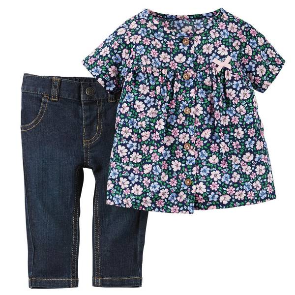 Baby Girl's Pink & Blue 2-Piece Top & Jeans Set