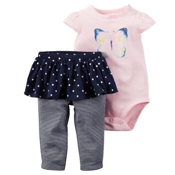 Infant Girl's Pink & Navy 2-Piece Bodysuit & Tutu Pants Set