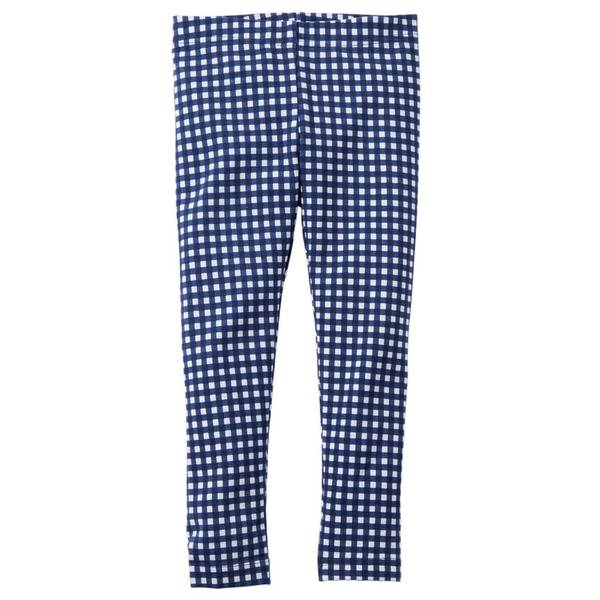 Girl's Navy Plaid Leggings