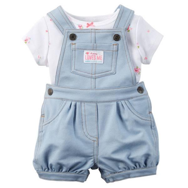 Infant Girl's White & Blue 2-Piece Tee & Shortalls Set