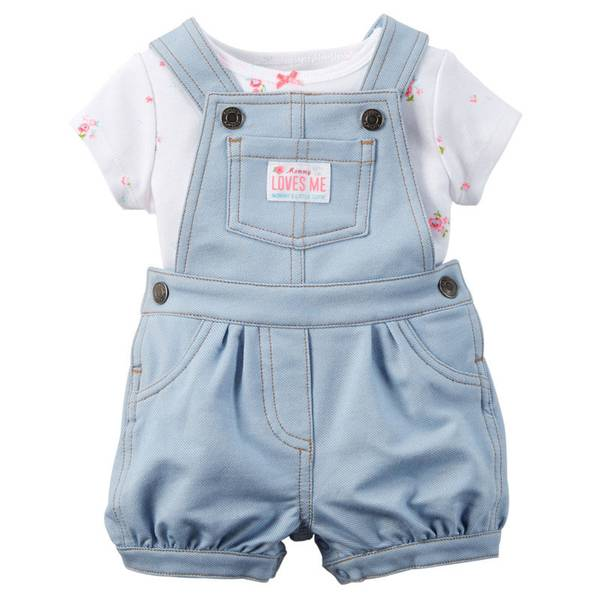 Baby Girl's White & Blue 2-Piece Tee & Shortalls Set