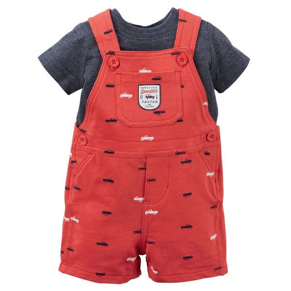 Baby Boy's Red & Blue 2-Piece Tee & Shortalls Set