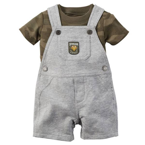 Baby Boy's Olive & Gray 2-Piece Tee & Shortalls Set