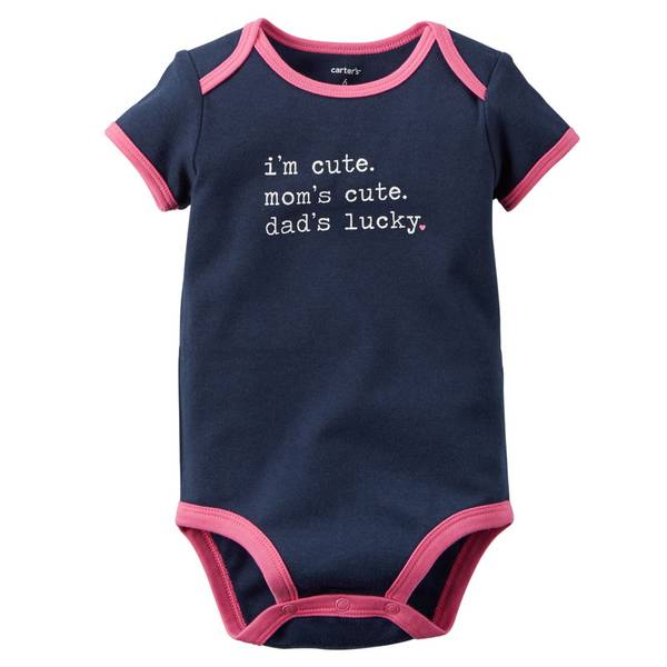 Baby Girl's Navy Short Sleeve Slogan Bodysuit