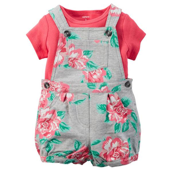 Infant Girl's Coral & Gray 2-Piece Tee & Shortalls Set