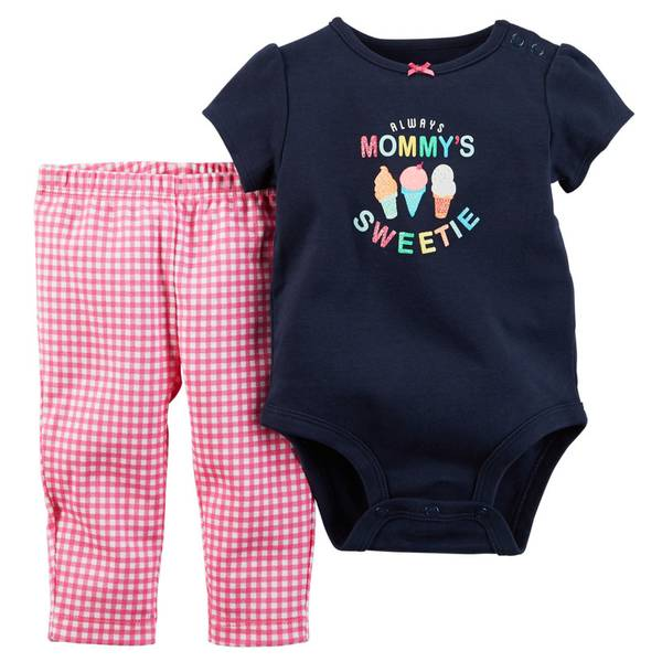 Baby Girl's Navy & Pink 2-Piece Bodysuit & Pants Set