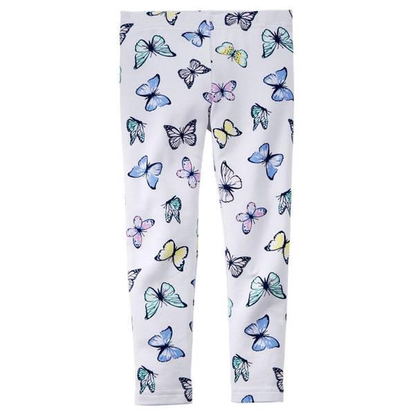 Girl's White Butterfly Print Leggings