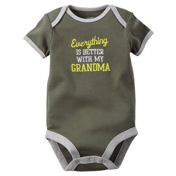 Infant Boy's Green Short Sleeve Slogan Bodysuit