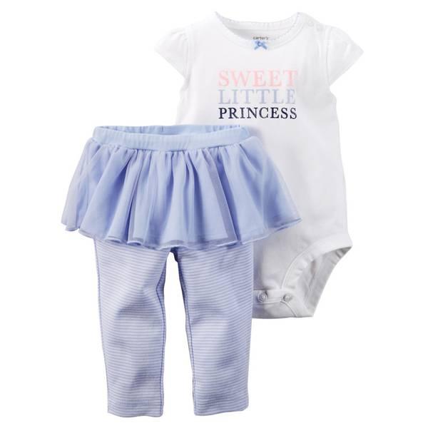 Baby Girl's Blue & White 2-Piece Bodysuit & Tutu Pants Set