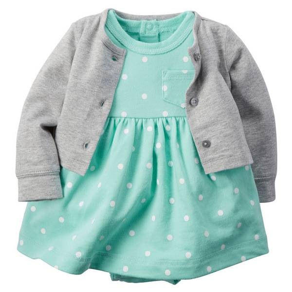 Infant Girl's Mint & Gray 2-Piece Bodysuit Dress & Cardigan Set