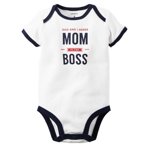 Baby Boy's White Short Sleeve Slogan Bodysuit