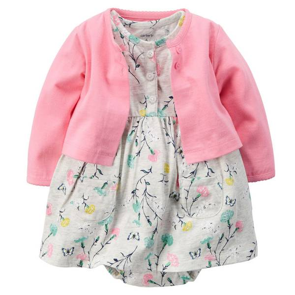 Baby Girl's Pink & Heather 2-Piece Bodysuit Dress & Cardigan Set