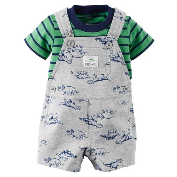 Baby Boy's Gray & Green 2-Piece Tee & Shortalls Set