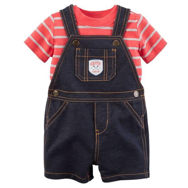 Baby Boy's Red & Blue Tee & Shortalls Set