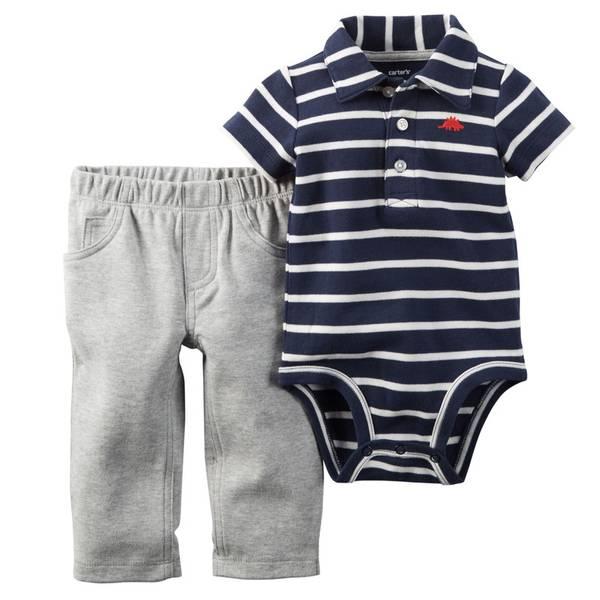 Baby Boy's Navy & Gray 2-Piece Bodysuit & Pants Set