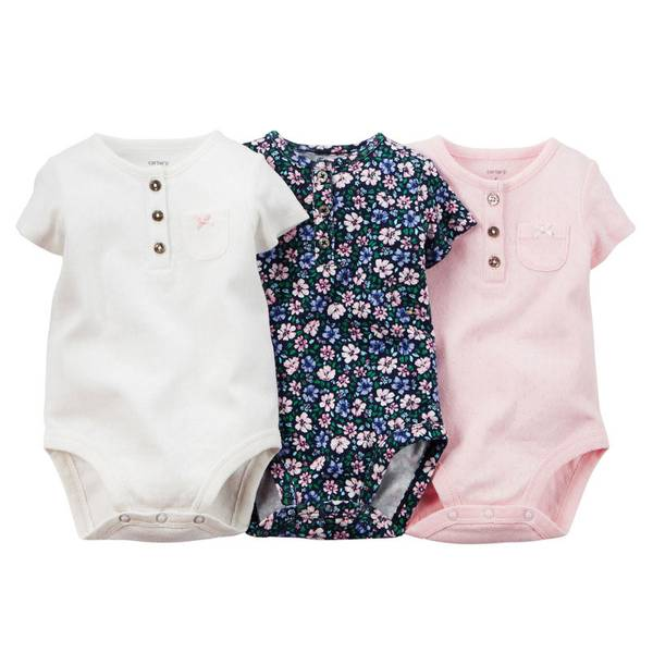 Infant Girl's Multi Colored Henley Bodysuits-3 Pack