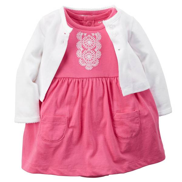 Infant Girl's White & Pink 2-Piece Bodysuit Dress & Cardigan Set