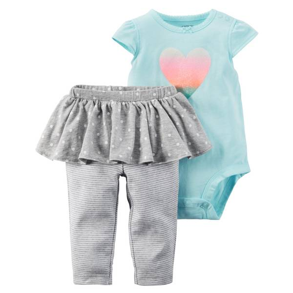 Baby Girl's Blue & Gray 2-Piece Bodysuit & Tutu Pants Set