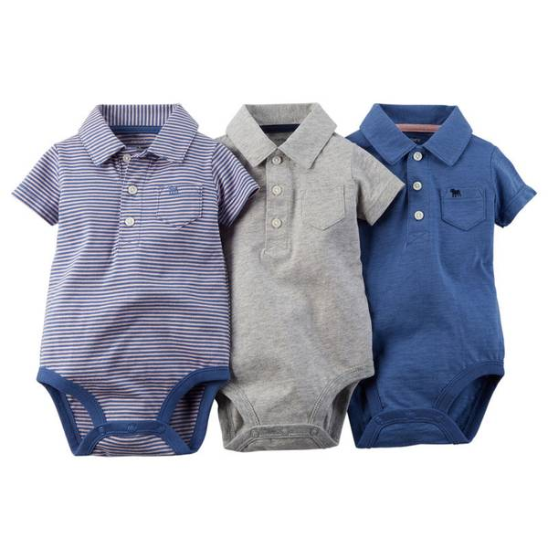 Infant Boy's Multi Colored Polo Bodysuits-3 Pack