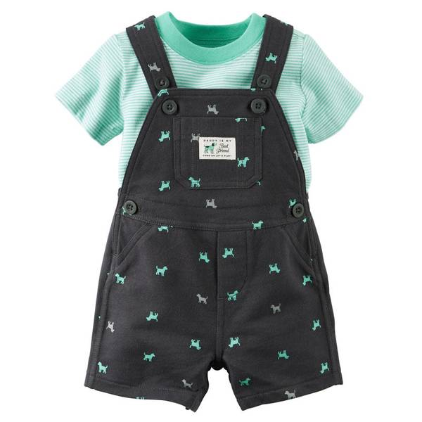 Infant Boy's Gray & Turquoise 2-Piece Tee & Shortalls Set