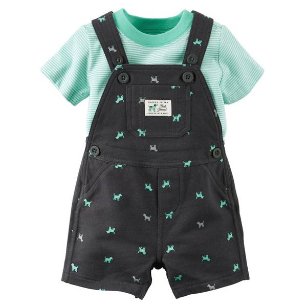 Baby Boy's Gray & Turquoise 2-Piece Tee & Shortalls Set