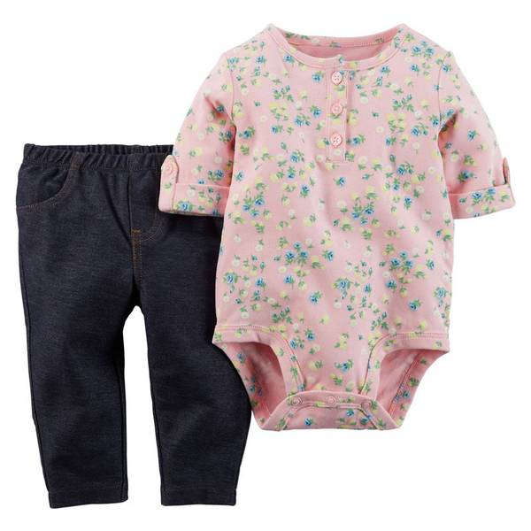 Infant Girl's Blue & Gray 2-Piece Bodysuit & Pants Set