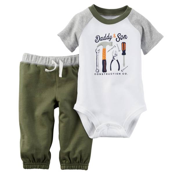 Baby Boy's White & Olive & Gray 2-Piece Bodysuit & Pants Set