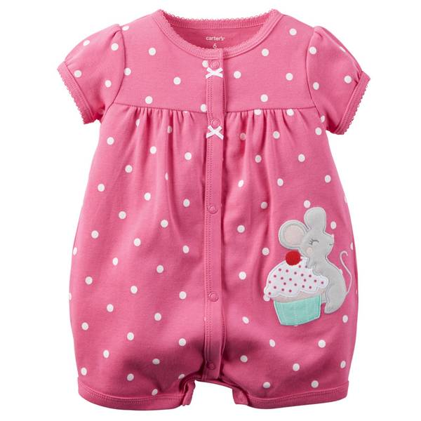 Baby Girl's Pink Snap-Up Polka Dot Rompers