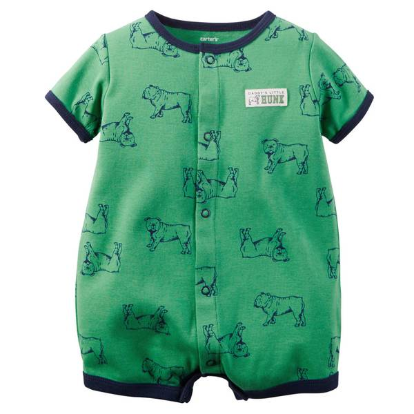 Baby Boy's Green Snap-Up Printed Rompers
